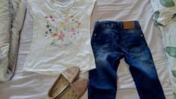 Roupas e calçado de menina t.8