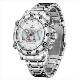 Relógio Masculino Weide AnaDigi - Prata e Branco