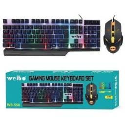 Kit Teclado Semi Mecânico + Mouse gamer Led weibo wb-550