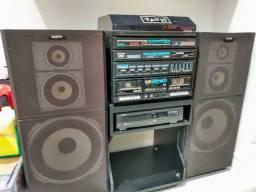 Aparelho de som tipo 3 em 1 Sanyo completo + cd player