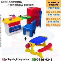 Aluguel KIT mini cozinha infantil + Mesinha picnic por 7, 15 e 30 dias