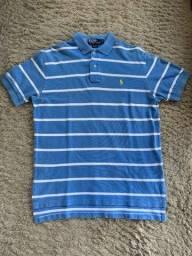 Camisa Polo Ralph Lauren Original Tamanho M Azul Listras Brancas Impecável!