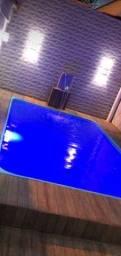 Piscina de fibra instalada azul lindaaa