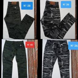 Calça Camuflada Jeans Brim Sarja Masculina Slim C/ Lycra Coloridas!<br>  (36) ao (46)