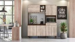 Cozinha Compacta 7 Portas Yara 160 Amendoa Rústico/Arezzo Rústico - Nicioli