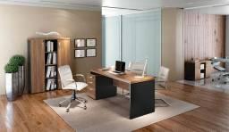 Conjunto de mesa e armario para escritorio