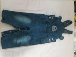 Jardineira jeans unissex 1 ano