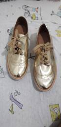 Sapato oxford feminino vizzano dourado