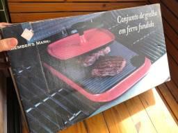 Grill Grelha Chapa em Ferro Fundido e Cerâmica