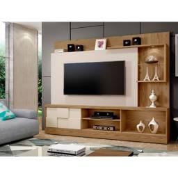 """Home theater R412 TV 65"""". Luminária LED e portas deslisantes. Entrega rápida"""