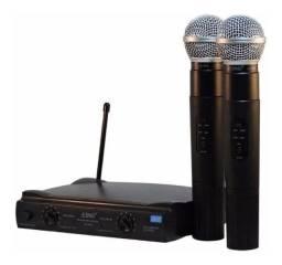 Microfone Sem Fio Duplo Uhf Wireless Le-906