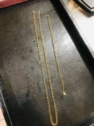 Conjuto corrente e pulseira de ouro modelo Elo portuguesa