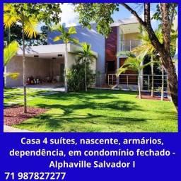 Casa alto padrão, 5 quartos, 4 suítes, nascente, em Patamares - Alphaville I