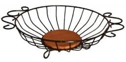 Fruteira de ferro e madeira artesanato rústico para cozinhas e áreas externas