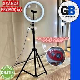 Ring Light Led Iluminador 26cm 10 Polegadas Completo com Suporte P/ Celular + Controle
