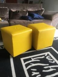 Conjunto de puf decoração amarelo