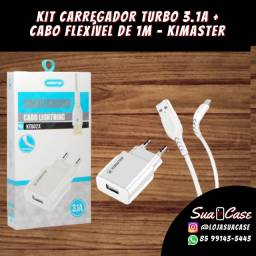 Kit Carregador Turbo 3.1mAh + Cabo flexível de 1m kimaster