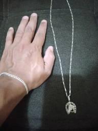 Pulseira e cordão de prata