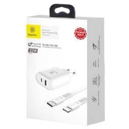 Carregador Turbo Original Baseus p/ iPhone/ iPad Pro e MacBook Novo Com NF e Garantia