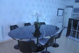 Mesa Tulip Saarinen Mármore Nero preto 1.98 x 1.22 + 6 cadeiras Saarinen