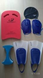 Kit Natação, touca, palmar, flutuador, prancha e nadadeira