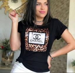 Camiseta Animal Print e pedrarias M NOVA
