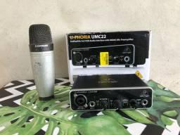 Interface Behringer UMC22 / Microfone Samson C01