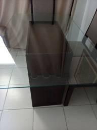 Mesa de 6 cadeira com tampo de vidro