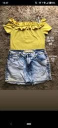 Blusa ciganinha M e saia jeans n38