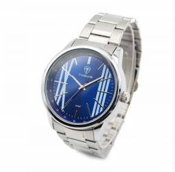 Relógio Masculino Tuguir Analógico - Prata e Azul