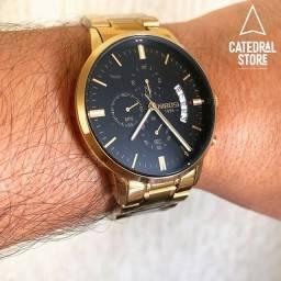 Relógio Nibosi 1985, Dourado com preto ou branco, garantia de 90 dias!
