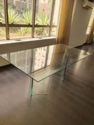 Mesa de vidro perfeito estado p/ jantar ou escritório