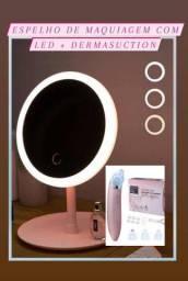 DIA DAS MÃES! Espelho de Maquiagem com Led + Dermasuction Limpeza Profunda