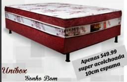 Cama box casal Unibox super acolchoada 10cm espuma. Entrega grátis em toda Macaé.