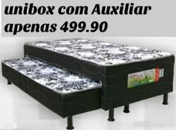 Cama box solteiro Unibox com Auxiliar. Entrega grátis em toda Macaé.