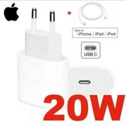 Adaptador Fonte Usb-C 20W e Cabos Usb-C  p/ iPhone iPads Pro iPod