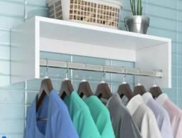 Cabideiro prateleiras para arara de roupas de Parede p/ Quarto/Lavanderia