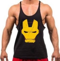 Camiseta Regata Cavada Treino Academia Homem De Ferro - Cor Preta