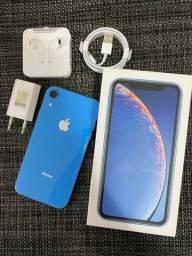 iPhone XR 128 GB azul - bateria 100% + capa VX Case