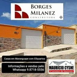 Casas Novas em Maranguape com 03 quartos. Aceita financiamento Caixa