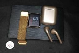 kit relogio Smartwatch P80 + i12 Metalico  presentao do dia  das maes