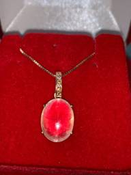 Colar vivara em ouro rose cravejado de diamante