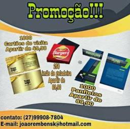 Promoção, panfletos e cartões de visita