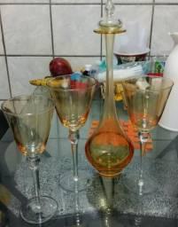Garrafa decorativa ca d'oro ambar + 3 taças