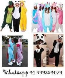 Kigurumi Unicórnio,Flamingo, Panda, Picachu, Dinosauro e outros Pijamas temáticos