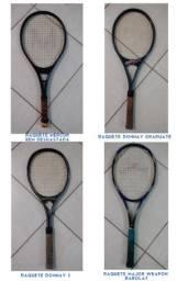 Conjunto c/ 4 raquetes das marcas donnay , babolat e mercur usadas . ver descrição