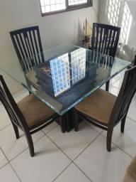 Mesa de jantar quadrada 1.00 x 1.00 c/ 4.cadeiras