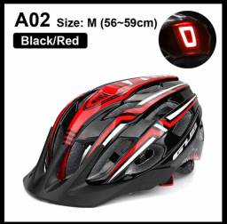 Capacete de bicicleta Luz LED Recarregável Ciclismo Preto c/ Vermelho Novo / Nfe