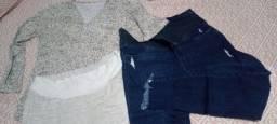 Pijama mais calça de gestante número 46