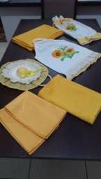 Jogo de cozinha toalha, puxa saco,porta pano de prato e sacola de pão